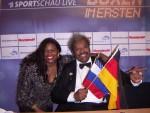 Jackie Sunshine Smith and Don King at Ruiz vs Valuev Berlin Germany.JPG