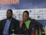 Laila Ali with her manager Damon Bingham at Berlin Presser.jpG