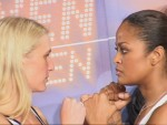 Asa and Laila stare down at weigh in Berlin.jpG