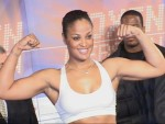Laila Ali looks confident at Ali vs Sandell weigh in Berlin.JPG