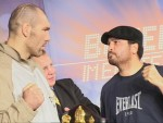 Nikolai Valuev and WBA Champ John Ruiz face off at Berlin weighin.jpG