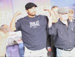 WBA Champ John Ruiz and Norman Stone at weigh in Berlin.jpG